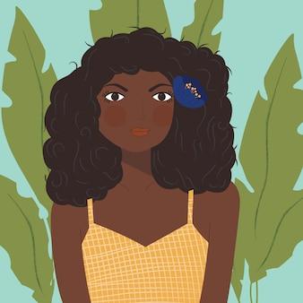 Retrato, de, um, menina americana africana