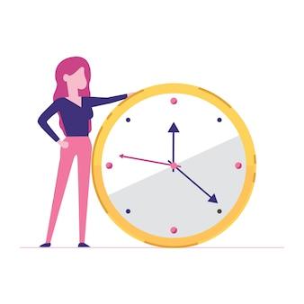 Retrato, de, um, mulher negócio, segurando, um, relógio