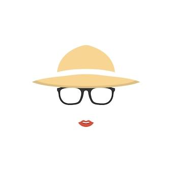 Retrato de uma agricultora de chapéu e óculos