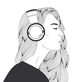 Retrato de uma bela jovem de cabelos compridos usando fones de ouvido desenhados com contornos pretos