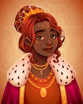 Retrato de uma bela rainha africana