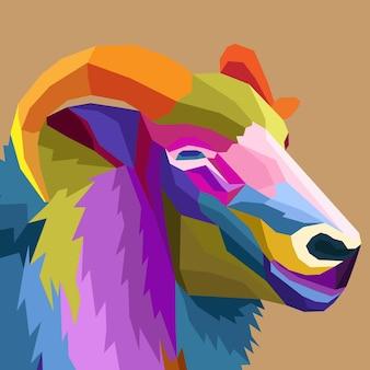 Retrato de uma decoração isolada de estilo pop art de cabra