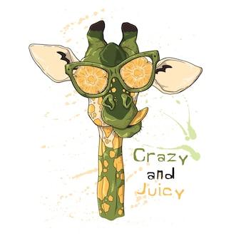 Retrato de uma girafa engraçada em copos sob o efeito de abacaxi.