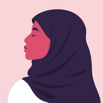 Retrato de uma jovem árabe mulher orgulhosa em hijab