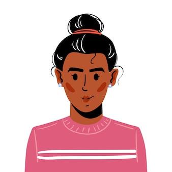 Retrato de uma jovem com cabelos presos em uma colisão. ilustração de avatar de um sorriso