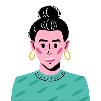 Retrato de uma jovem com cabelos presos em uma colisão. ilustração de avatar de uma garota sorridente