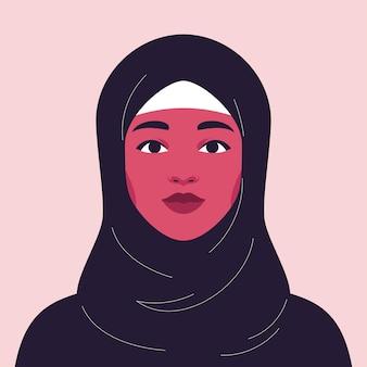 Retrato de uma jovem e bela mulher árabe em hijab