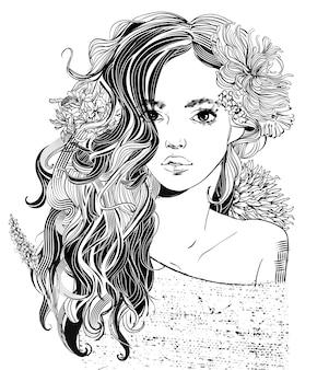 Retrato de uma jovem mulher bonita com flores - ilustração em vetor preto e branco