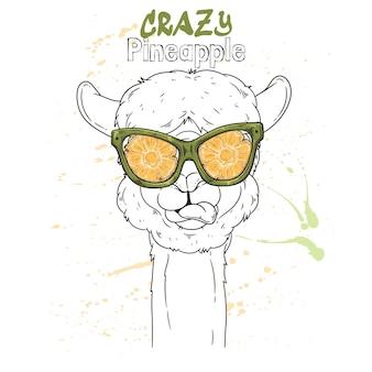 Retrato de uma linda alpaca com óculos de efeito abacaxi