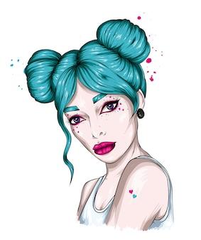 Retrato de uma linda garota com um penteado estiloso e maquiagem
