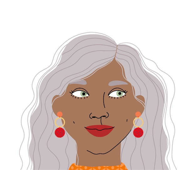 Retrato de uma linda mulher. ilustração de rosto de menina isolada. ilustração plana de personagem feminina.
