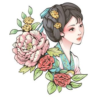 Retrato de uma menina chinesa antiga e flores