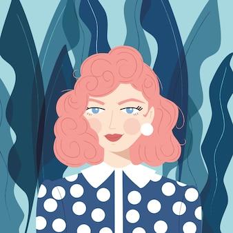 Retrato de uma menina com cabelo rosa
