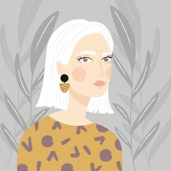 Retrato de uma menina com cabelos brancos