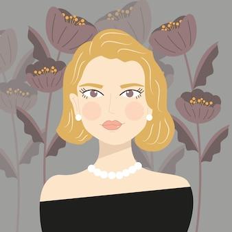 Retrato de uma menina loira elegante