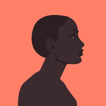 Retrato de uma mulher africana elegante modelo africana no perfil do conceito de feminilidade.