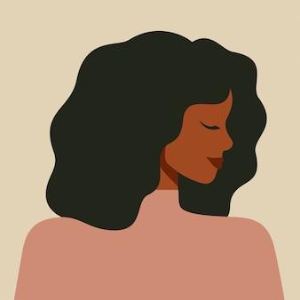 Retrato de uma mulher afro-americana no perfil. avatar de jovem negra