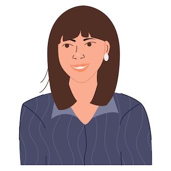 Retrato de uma mulher de negócios feliz e sorridente. lindo avatar de personagem feminina. ilustração em vetor plana.