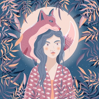 Retrato de uma mulher e uma raposa no ombro cena noturna com lua e estrelas animal selvagem e menina