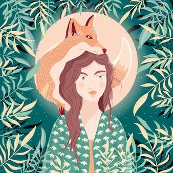 Retrato de uma mulher e uma raposa no ombro. cena noturna com lua e estrelas