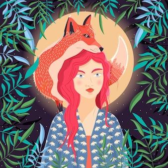 Retrato de uma mulher e uma raposa vermelha no ombro. cena noturna com lua e estrelas