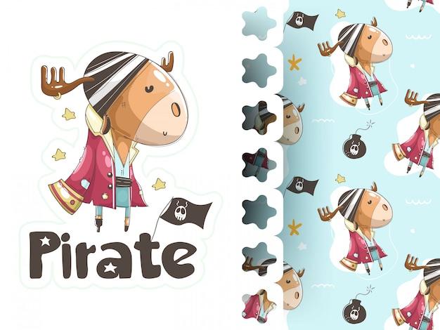 Retrato de veado em pirata vestido