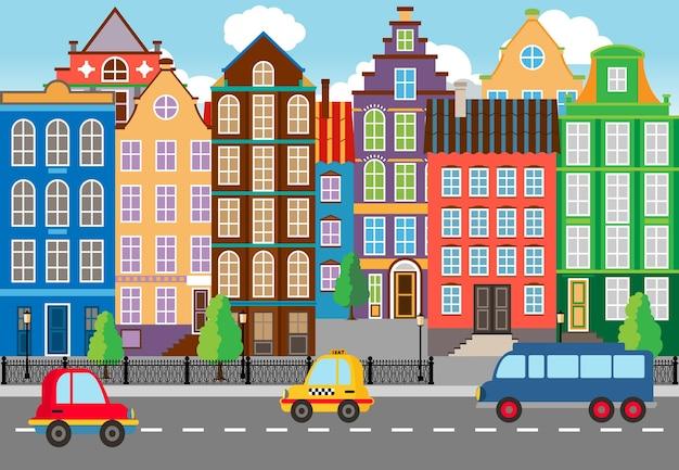Retrato de vida urbana cartooned cartooned sem emenda. projetado com enormes edifícios ao longo da rua.