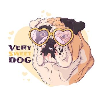 Retrato desenhado à mão de bulldog com acessórios