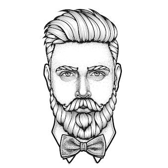 Retrato desenhado à mão de um homem barbudo
