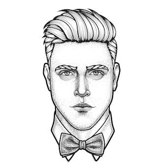 Retrato desenhado à mão de um homem com o rosto cheio e gravata borboleta