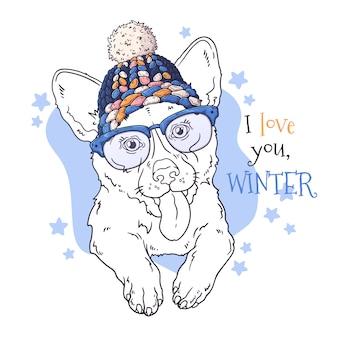 Retrato desenhado de mão de animal no natal