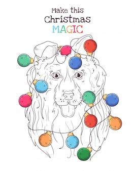 Retrato desenhado de mão de cachorro collie no natal