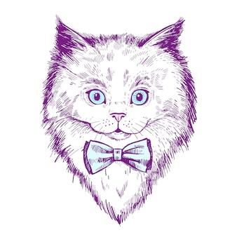 Retrato desenhado de mão de gatinho com gravata borboleta, esboço de hipster de gato hipster