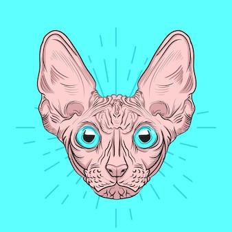 Retrato desenhado de mão de gato sphynx fofo com ilustração de estilo de gravura