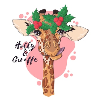 Retrato desenhado de mão de girafa em acessórios de natal