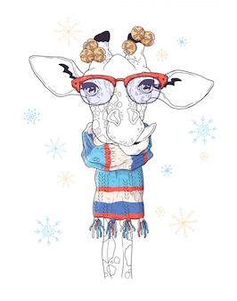 Retrato desenhado de mão de girafa no natal