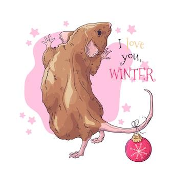 Retrato desenhado de mão de rato em acessórios de natal