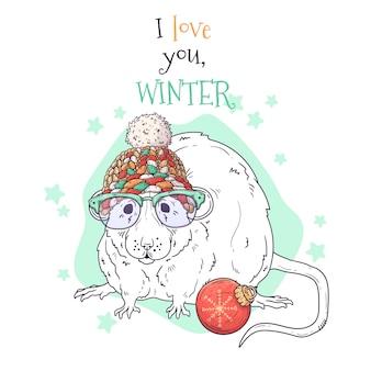 Retrato desenhado de mão de rato no natal