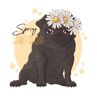 Retrato desenhado de mão do cão pug com flores