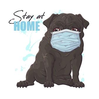 Retrato desenhado de mão do cão pug em uma máscara médica