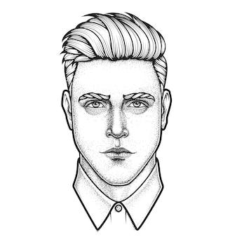 Retrato desenhado de mão do rosto completo do homem. ilustração.