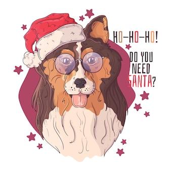 Retrato desenhado mão de cachorro collie em acessórios de natal.