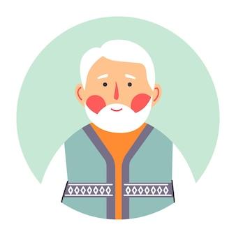 Retrato do avô do personagem masculino sênior, círculo isolado com rosto de pessoa calma. cavalheiro com blush nas bochechas. vovô com cabelos grisalhos e rugas, homem idoso, vetor em estilo simples