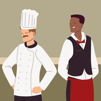 Retrato do chef e garçom trabalhando no design de ilustração uniforme