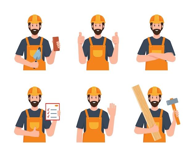Retrato do construtor ou trabalhador da construção civil em diferentes poses, uniforme com ferramentas de trabalho
