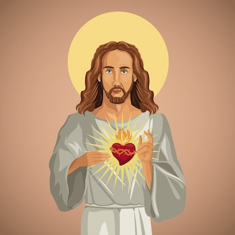 Retrato do coração jesus cristo sagrado