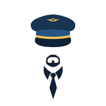 Retrato do piloto de boné e gravata. ilustração vetorial.