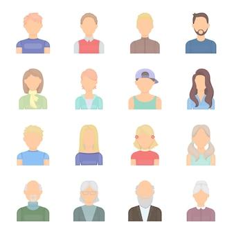Retrato do rosto dos desenhos animados icon set vector. retrato de indústria de ilustração vetorial de rosto.