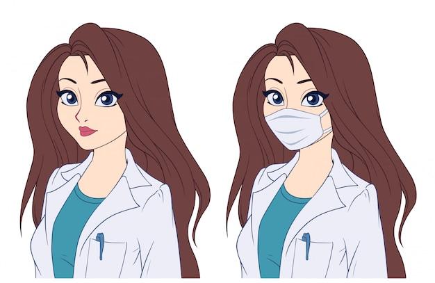 Retrato dos desenhos animados de mulher usando máscara médica.