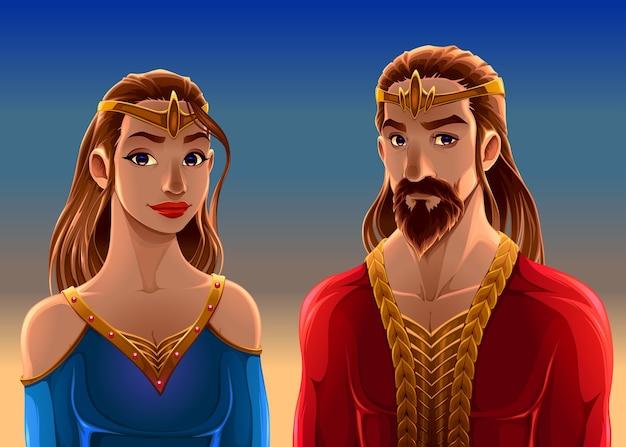 Retrato dos desenhos animados de um rei e uma rainha.
